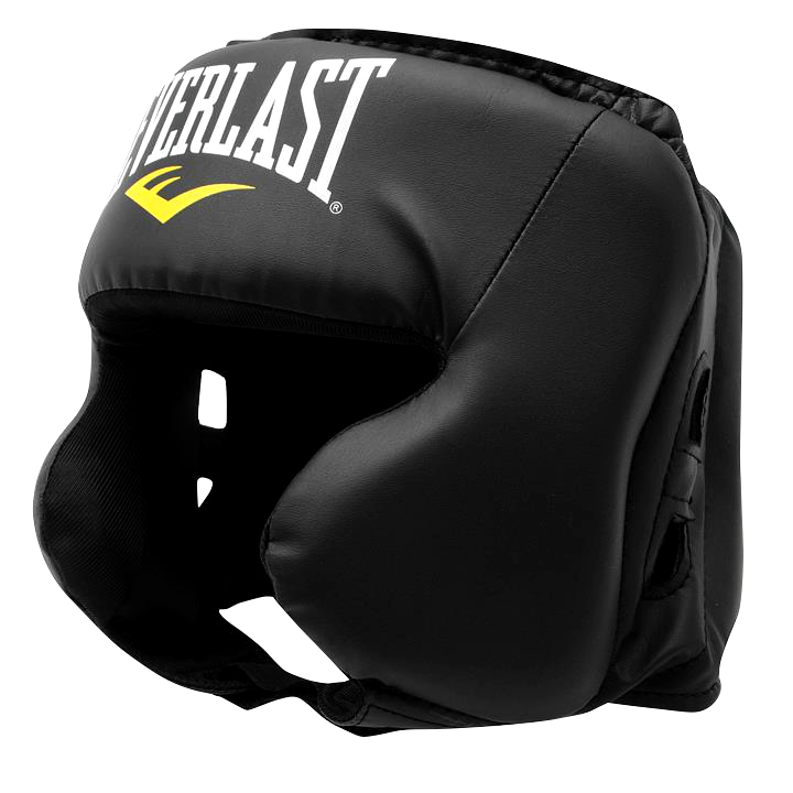 "This is a boxing headguard, which, according to the International Boxing Association, is ""equipment worn on the head in order to protect it during a competition. Adjusted to the head with velcro straps, one of the straps is located on the chin and the others on the top of the head. It prevents cuts and bruises, and its goal is to reduce the impact of a punch on the head. Made by closed-cell foam, being flexible and soft, velcro and vinyl fabric, its weight varies according to its size, going from 205 grams to 290 grams. It is usually in red, blue, or black color, the one displayed here is black."