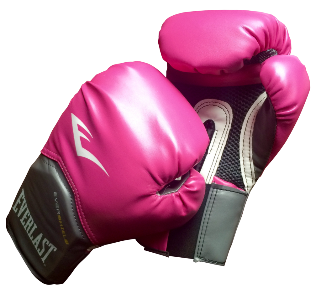 A pair of pink boxing gloves.
