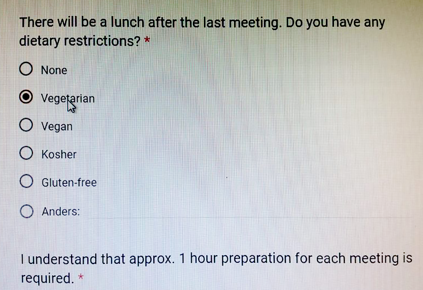 Screenshot of an online form about dietary preferences for an academic event. The categories include None, Vegetarian, Vegan, Kosher, Gluten-free and Other.